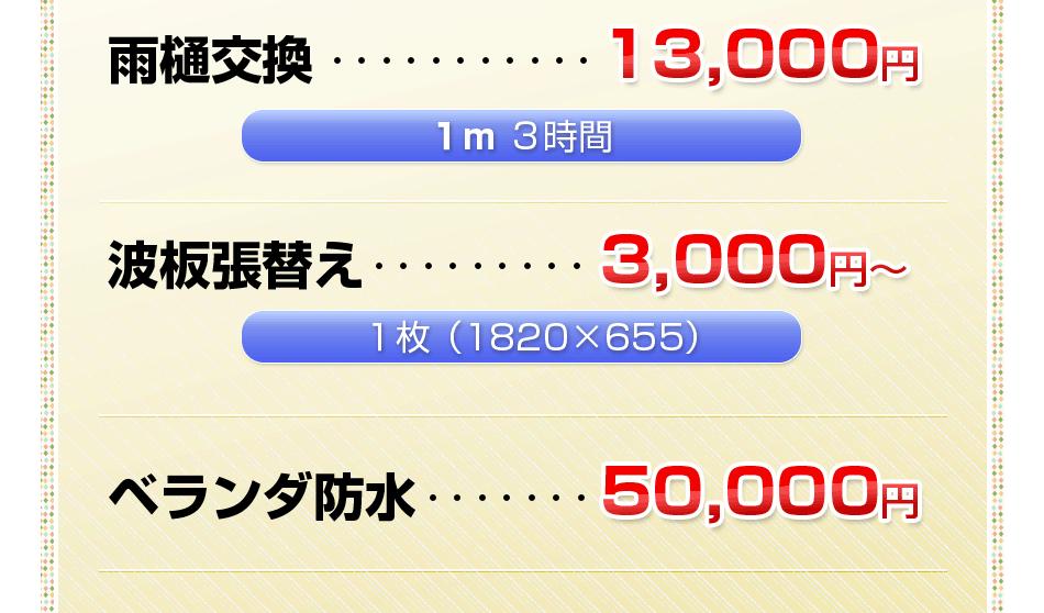 雨樋交換 12,000円 / 1枚3,000円~(廃材処分・作業費込み)2階以上の作業は高所作業代として1万円~1万5千円を頂戴いたします。 / ベランダ防水 50,000円